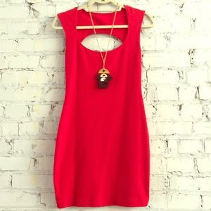 American Apparel Red Bodycon Cutout Back Dress